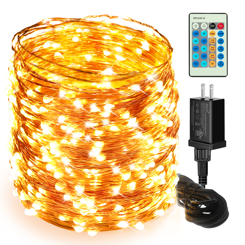 165ft 500 LEDs Ultra Long Warm White Plug in Fairy Lights with Remote