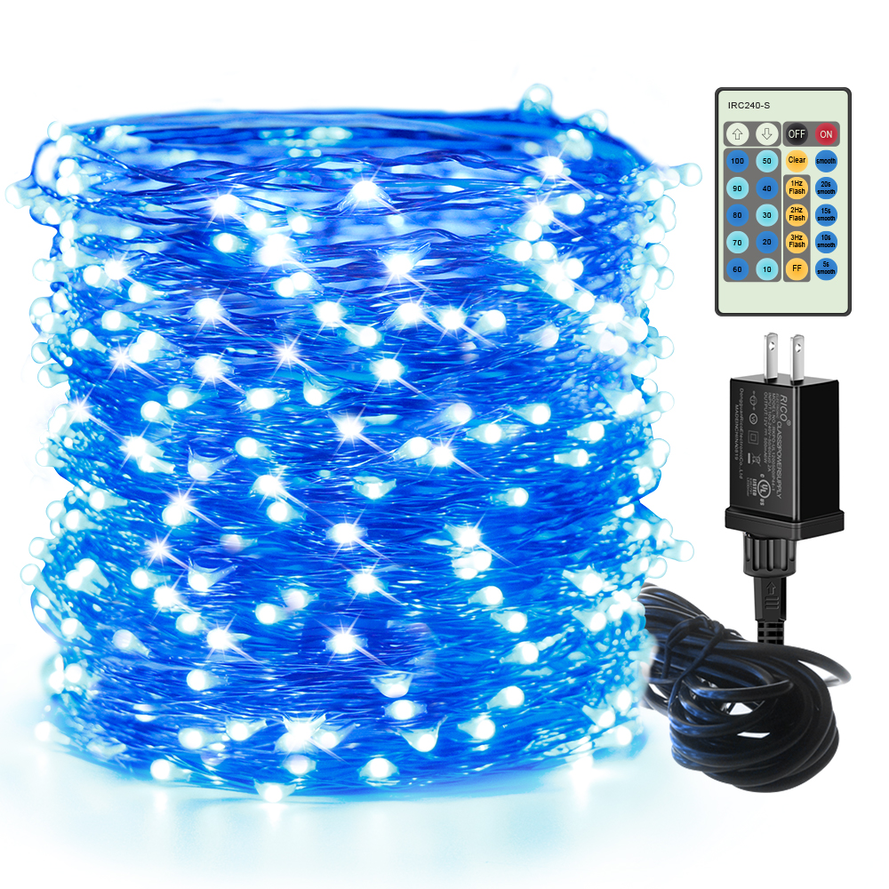 99ft 300 LEDs Blue Plug in Fairy Lights with Remote