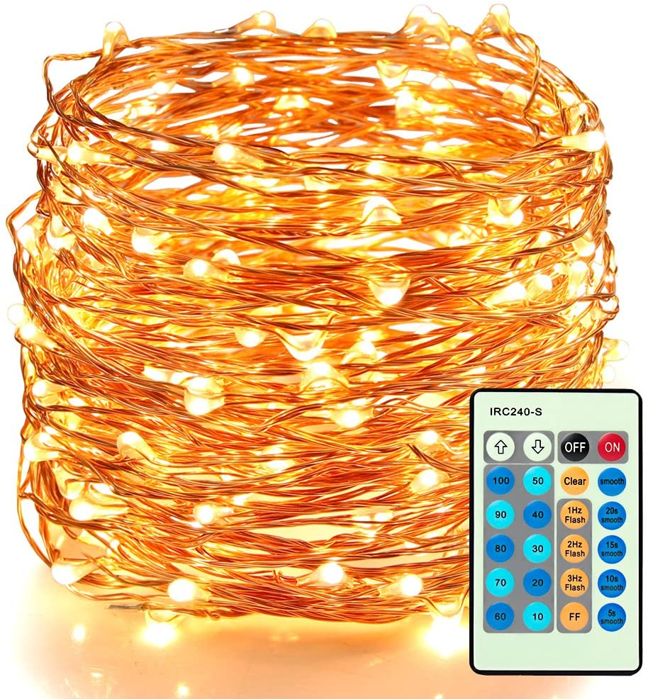 66ft 200 LEDs Warm White Plug In Fairy Lights with Remote