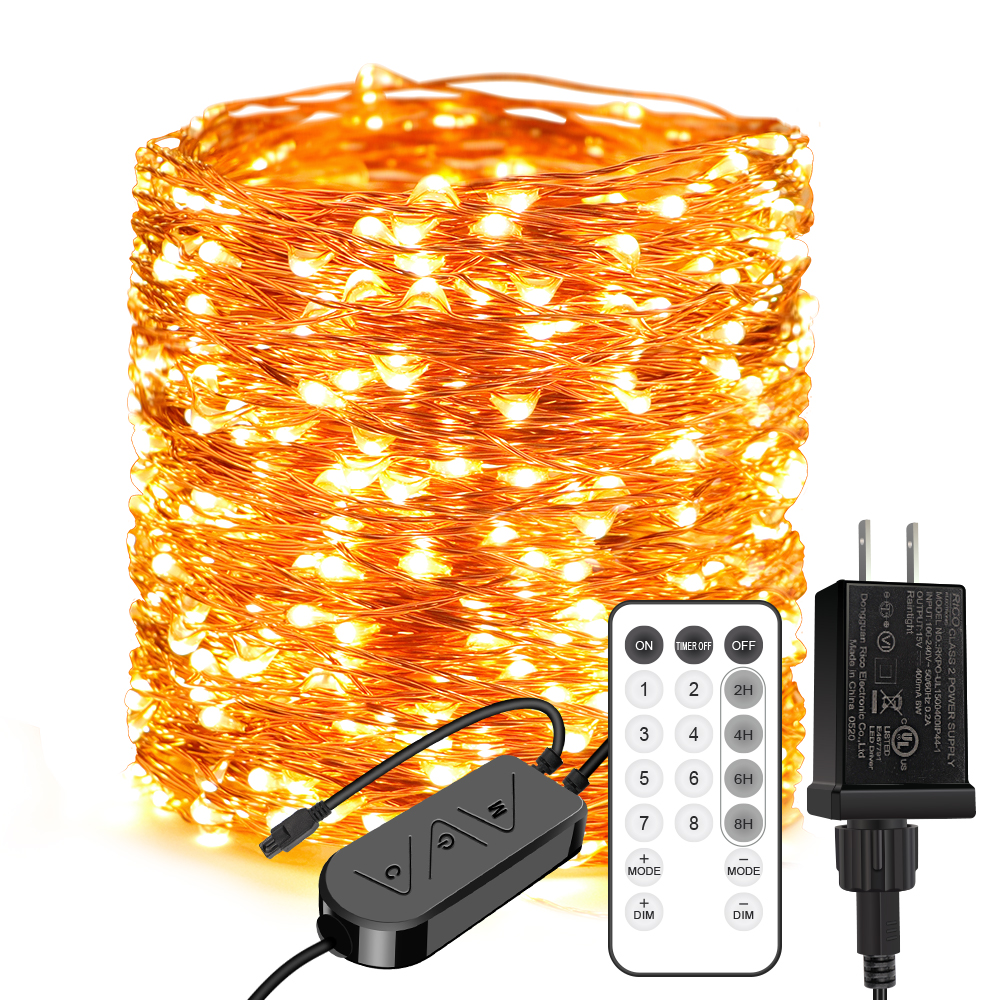 165ft 500 LEDs Warm White Plug in Fairy Lights with Timer