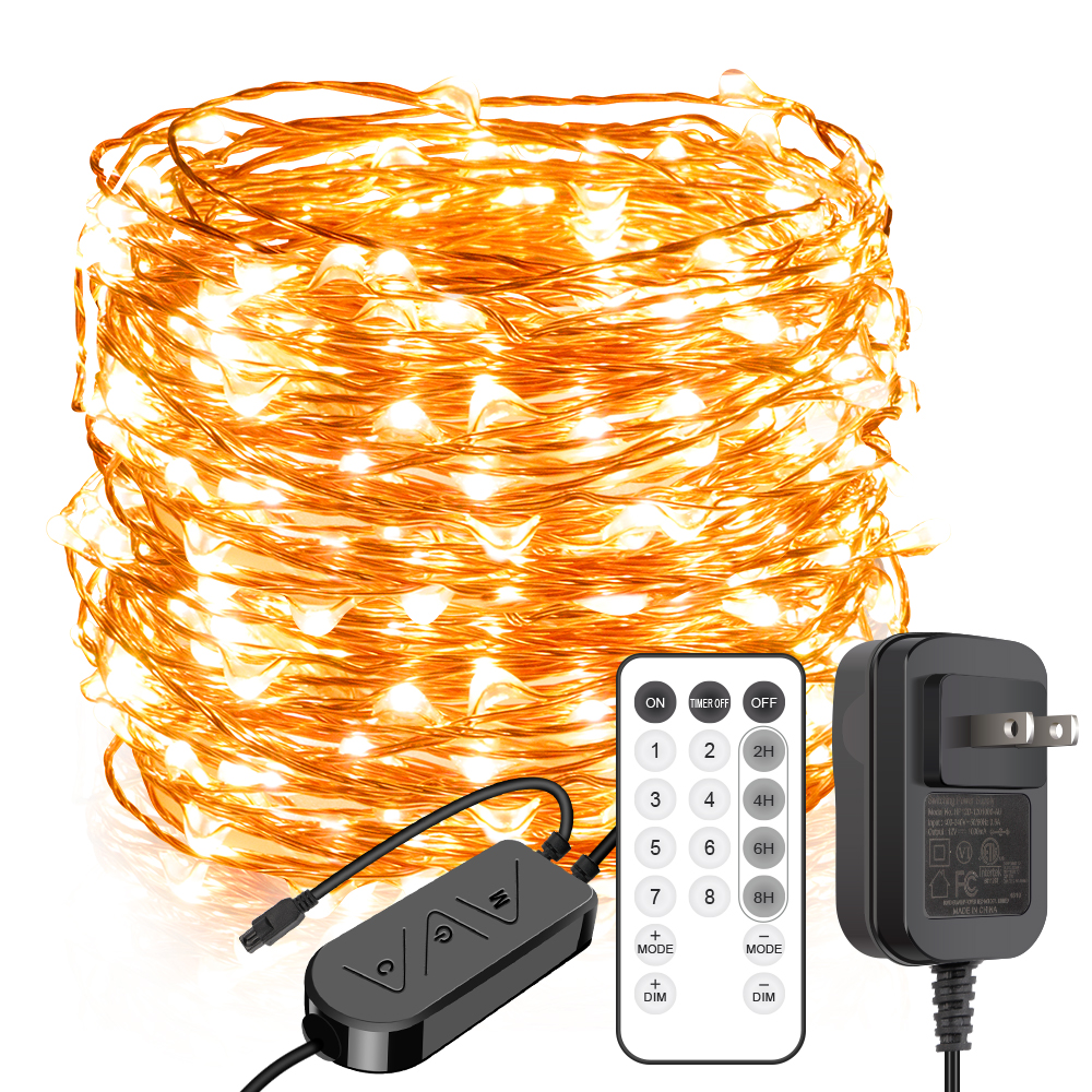 99ft 300 LEDs Warm White Plug in Fairy Lights with Timer