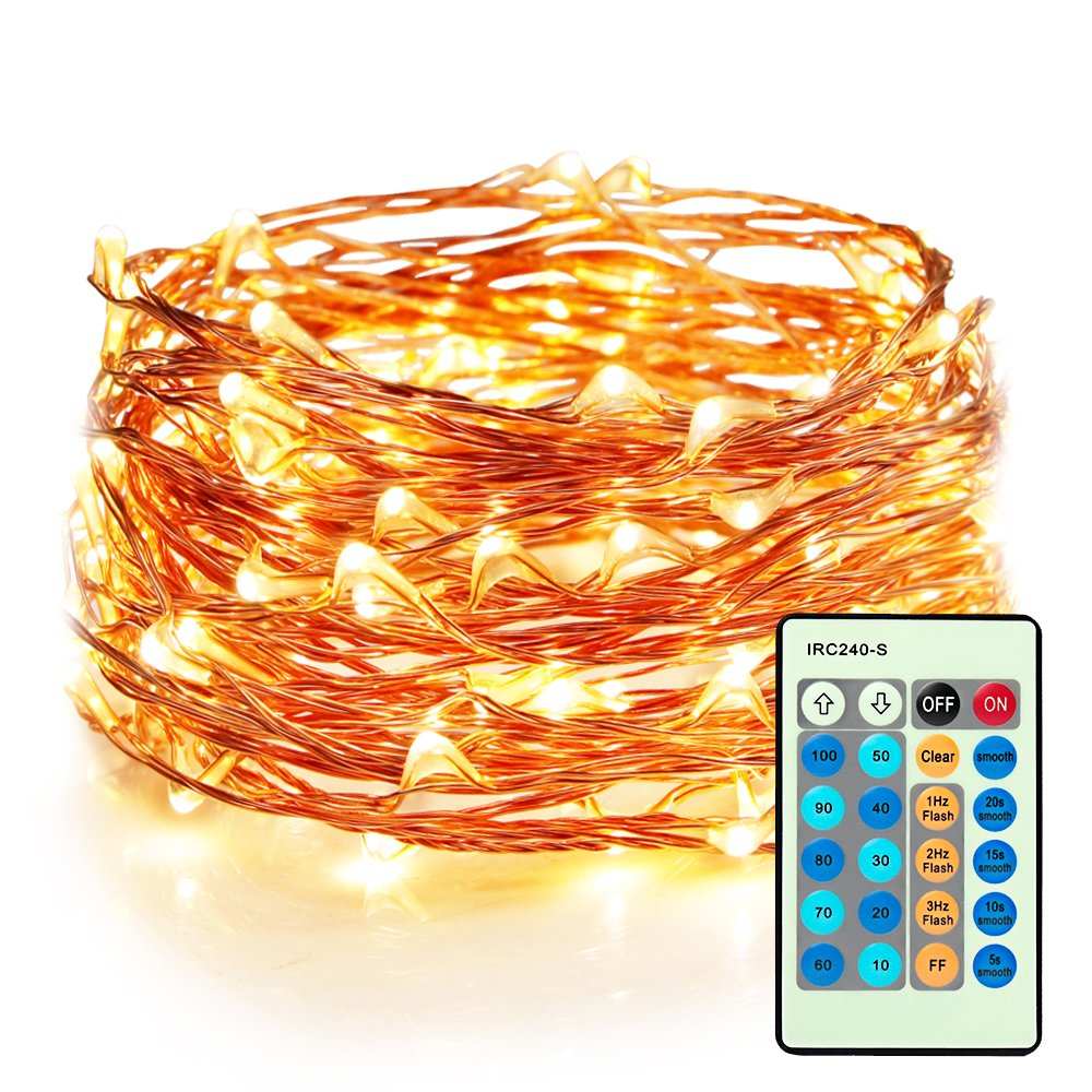 33ft 100 LEDs Warm White Plug In Fairy Lights with Remote