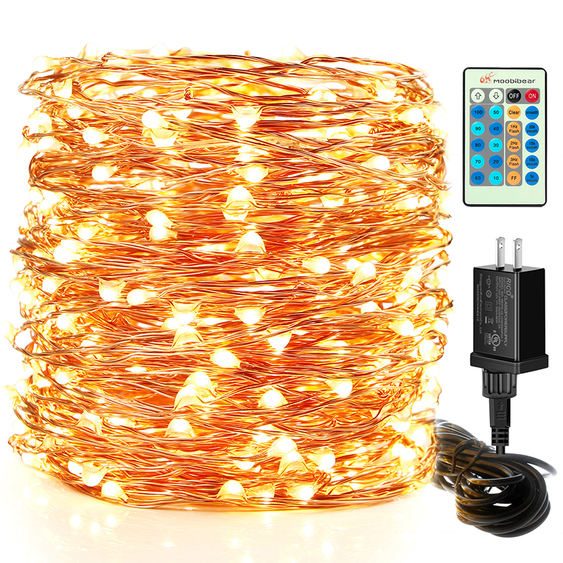 99ft 300 LEDs Warm White Plug In Fairy Lights with Remote