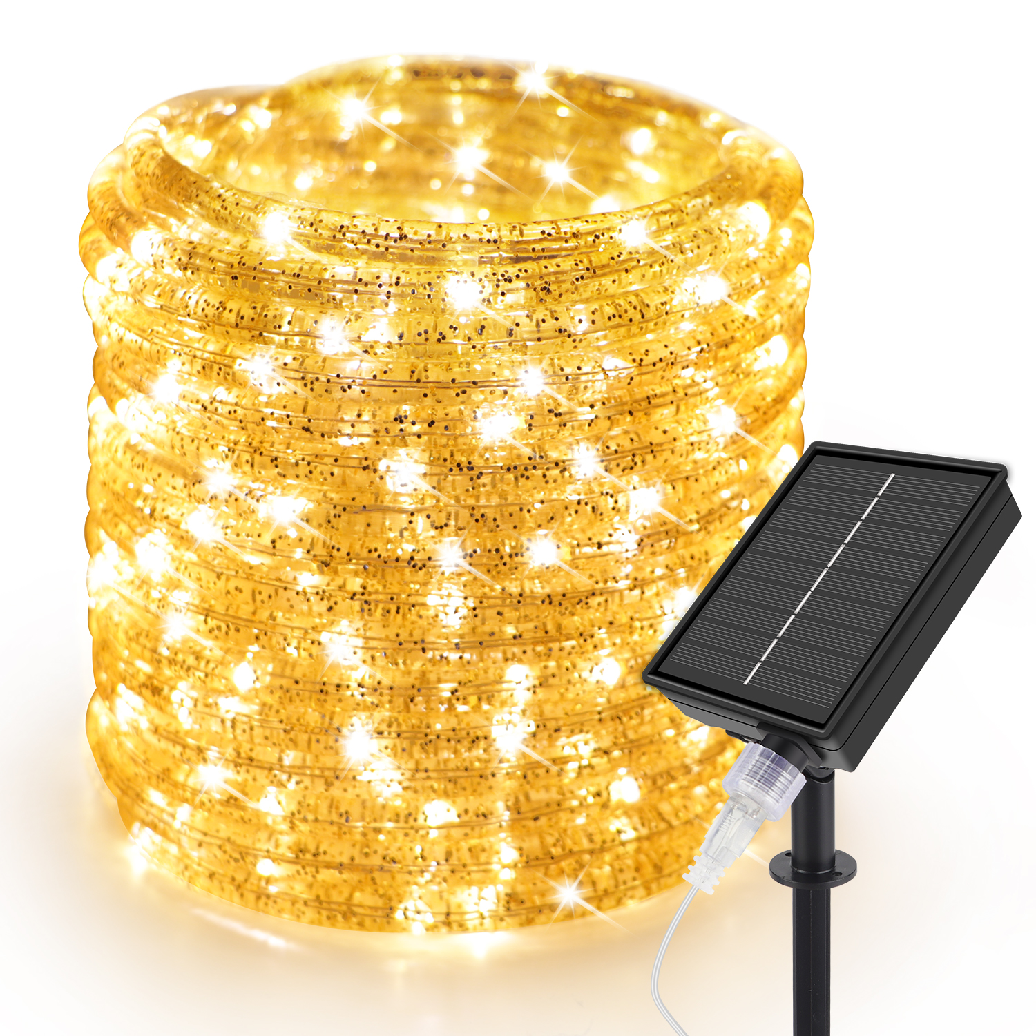 33ft Warm White LED Solar Rope Lights