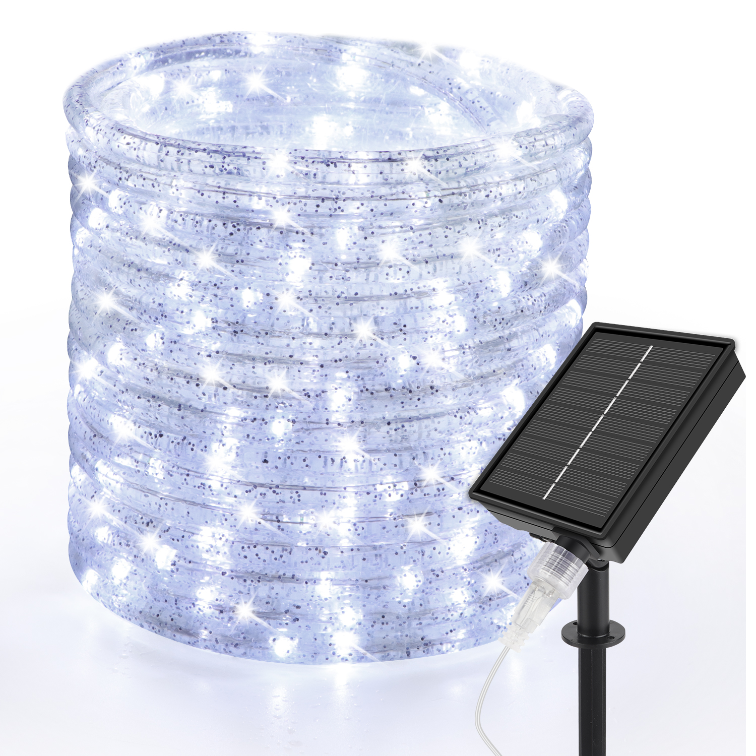 33ft LED Solar Rope Lights Cool White