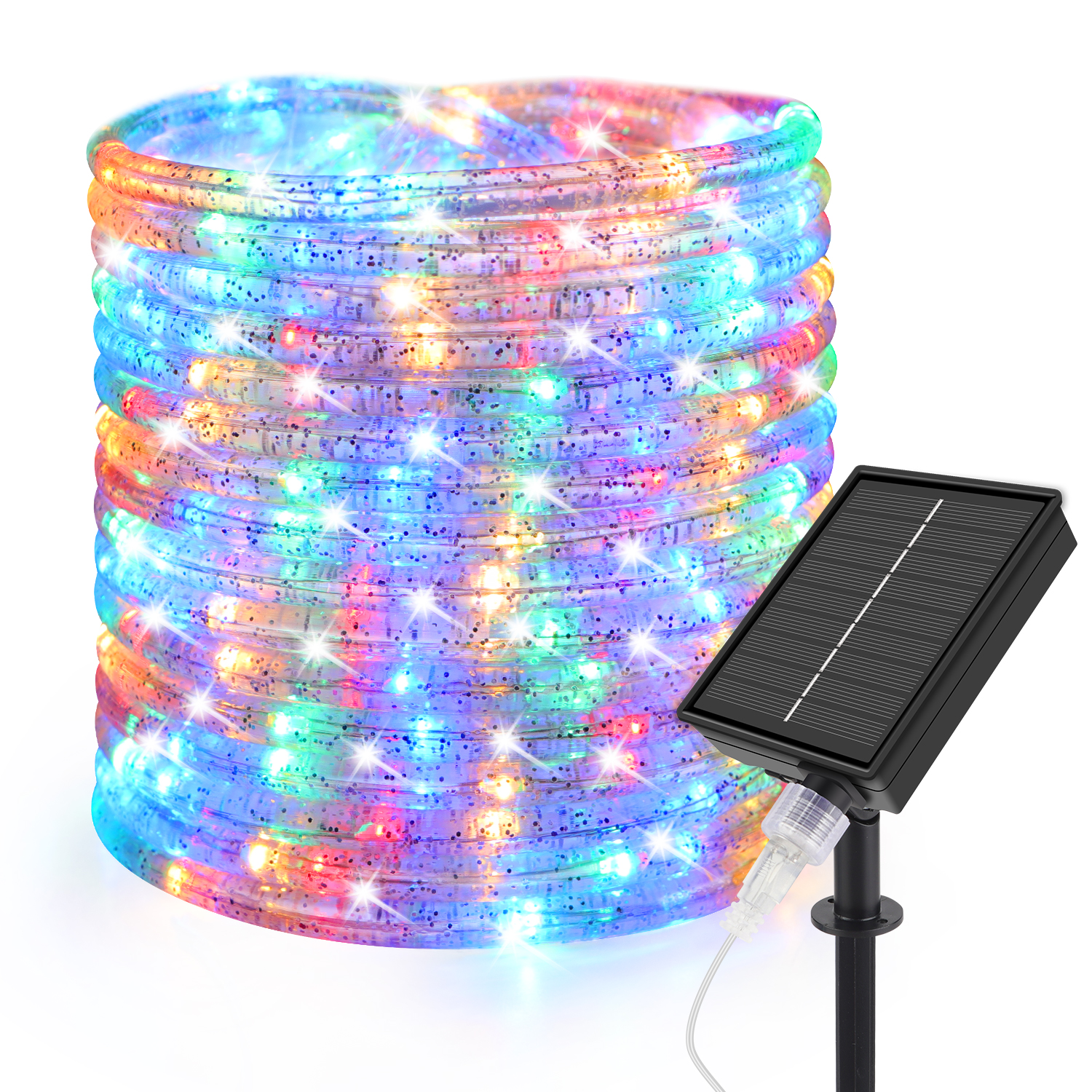 LED Solar Rope Lights, Multi Colored, 8 Modes, 33ft